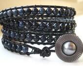 Dumortierite Leather Wrap Bracelet - Quad