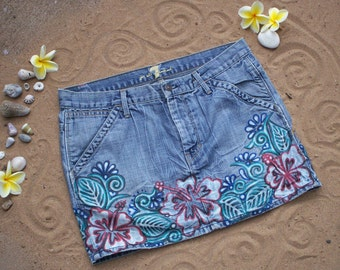 Hand bleached Hibiscus denim skirt with multi color accents