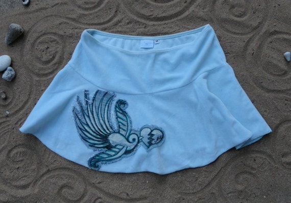 ON SALE Sparrow with broken heart patch skirt