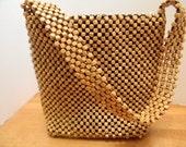 Vintage Natural Wood Beaded Shoulder Bag Purse