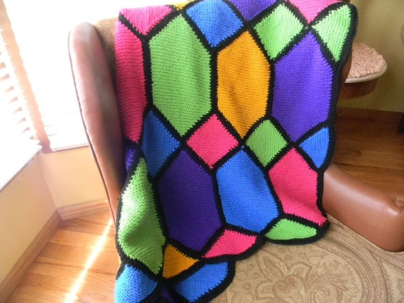Items similar to Hand Knit Afghan Stained Glass Pattern on Etsy