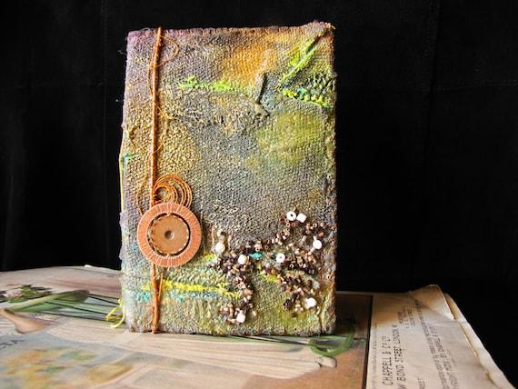 """Handmade """"Dragon-skin"""" Journal, sketchbook, notebook, diary, zine in golden-green tones"""
