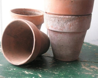 Antique Terra Cotta Flower Pots - Set of 4