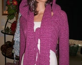 Dark rose hooded shrug crochet tie front