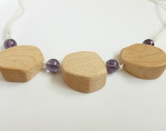 Chunky Wooden Nursing Necklace - Maple Wood and Purple Glass Beads