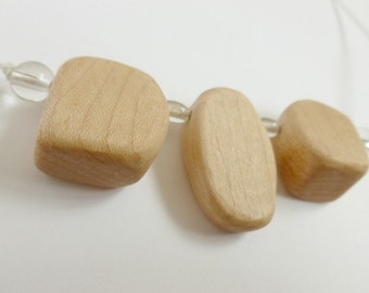 Wooden Nursing Necklace - Glass and Wood Necklace - Maple Wood and Clear Glass Beads - Wooden Necklace