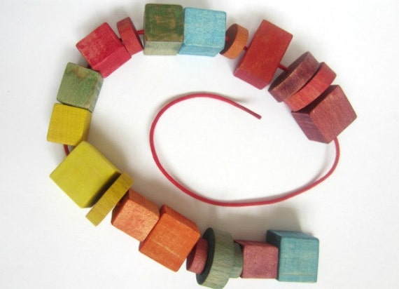 Wooden Lacing Beads in Rainbow Colors - Wooden Montessori Fine Motor Skills Toy