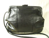 Vintage 60's black leather strap purse