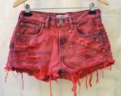 28inch Mid Waist Custom Cut Off Bleached and Dyed Studded Shorts, Red Abercombie & Fitch