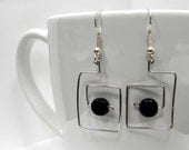 Square Wire Earring with Black Bead