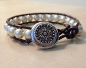 yellow pearl leather wrap bracelet
