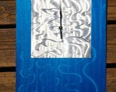 Candy blue and silver abstract modern wall art metal ground metal steel clock