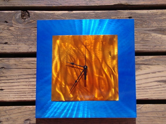 Candy blue and orange abstract modern wall art metal aluminum steel clock