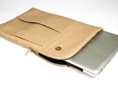 Shirtsleeve-inspired Laptop or Tablet Sleeve - Tan Wool Blend