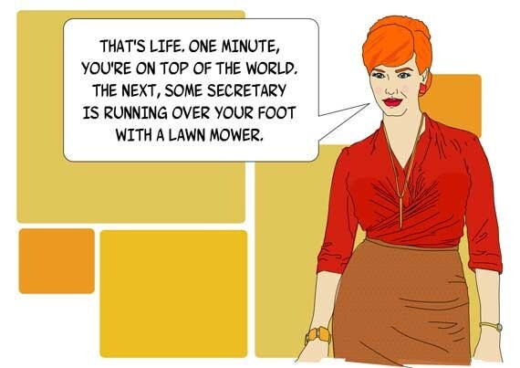 Items similar to Funny Blank Greeting Card Joan from Mad Men – Mad Men Birthday Card