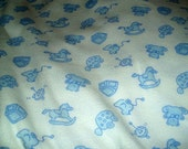 1 Yard Knit Fabric White w/ Blue Teddy Bears Turtles and Rocking Horses