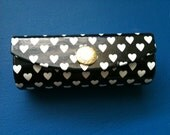 Vintage Late 80s Lancome Black with White Heart Lipstick case with mirror