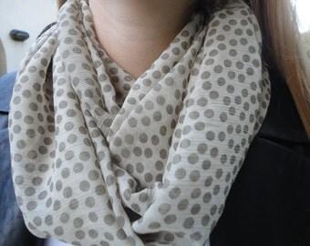 White & gray Polka Dot Chiffon infinity scarf, Circle Scarf, Loop scarf, Chiffon Scarf, Fashion Scarf, Infinity Scarf