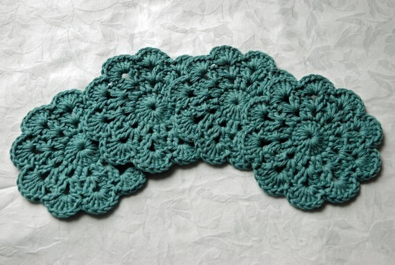 Crochet Coasters or Doilies - Set of 4 in Blue/Green Cotton