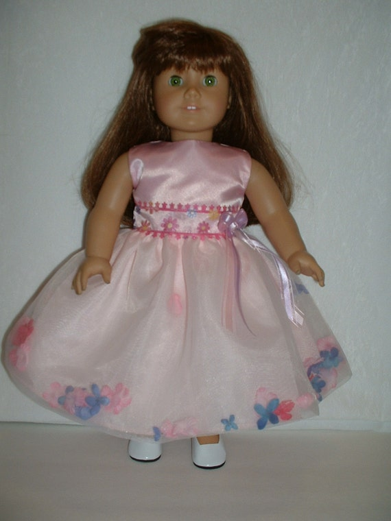 Pink Spring  party dress fits American girl 18 inch doll clothes