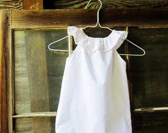 White or Ivory girls ruffle beach Dress size 6 months 12 months 18 months 2t 3t 4t 5t, flower girl dress, beach flower