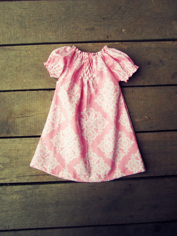 Pink damask Hand Smocked peasant dress size newborn 0-3 3-6 6-12 months 2t coming home outfit