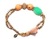Trendy bracelet with semiprecious stones Amazonite Green Jade and gold-plated parts, an eye-catcher