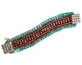 Friendship bracelet neon multicolor turquoise violet pink, chain, silver chystal clasp