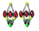 """RESERVED FOR """"WALD"""" Neon mutlicolor red green yellow, fashion pierced earrings with hand-colored rhinestones"""