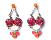 Neon earrings mutlicolor pink red rose orange, fashion pierced  with hand-colored rhinestones,