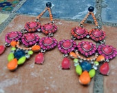 Neon earrings mutlicolor pink rose orange yellow blue, fashion pierced  with hand-colored rhinestones, heart