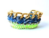 Friendship bracelet chrystal rhinestones, neon multicolor blue mint green, yellow, gold plated chain, knitted thread work