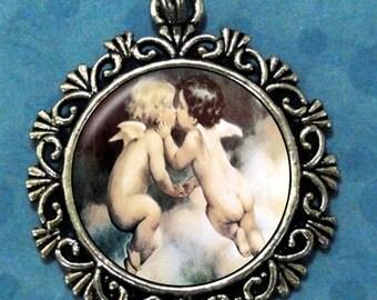 Two Angels Kissing Art Pendant, Valentine's Day Resin Pendant, Vintage Art, Photo Pendant