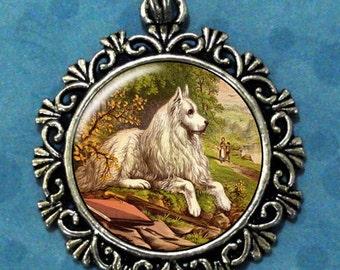 White Dog Art Pendant, Dog Resin Pendant, Animals Vintage Art, Photo Pendant Charm