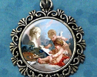 Cupids Allegory of Painting Art Pendant, Cupid Resin Pendant,  Francois Boucher Art, Photo Pendant Charm
