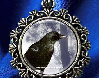 Raven Crow Digital Art Pendant, Black Bird Resin Art Pendant, Photo Pendant