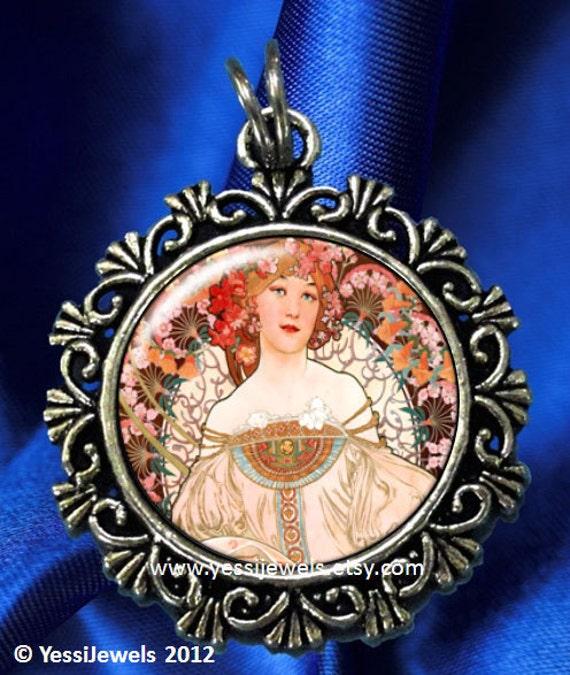 Nouveau Reverie Art Pendant, Woman Resin Pendant, Alphonse Mucha Art, Photo Pendant