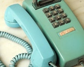 Turquoise Shabby Corded Wall Telephone Phone Bell Systems Western Electric 1950 Kitchen Cottage Chic 1960 1970