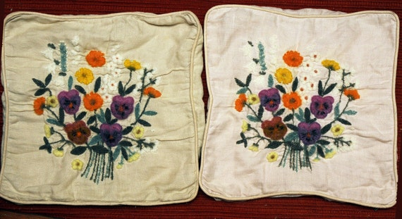 Cottage Chic Shabby Wool Needlepoint Pair of Small Wool Vintage Pillow Covers Vintage Zippers Work Floral Violets Purple