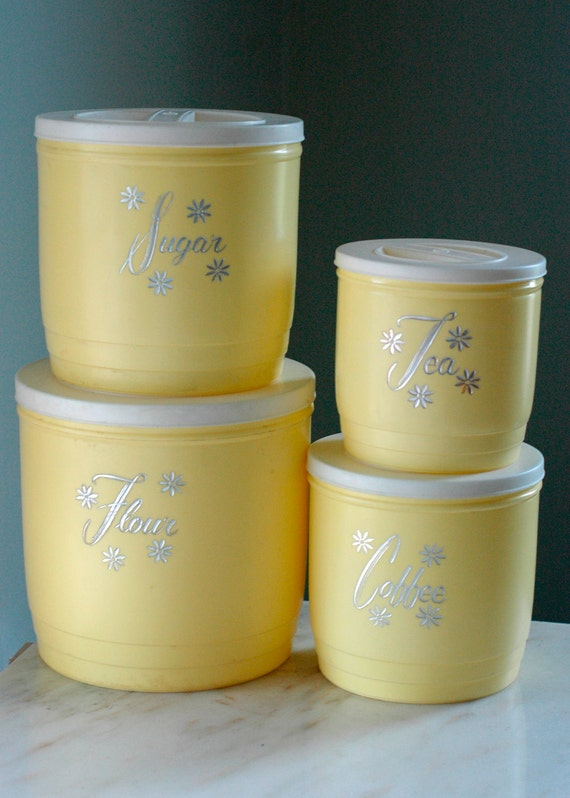 1950 yellow canister set mint condition cottage chic 50s kitchen