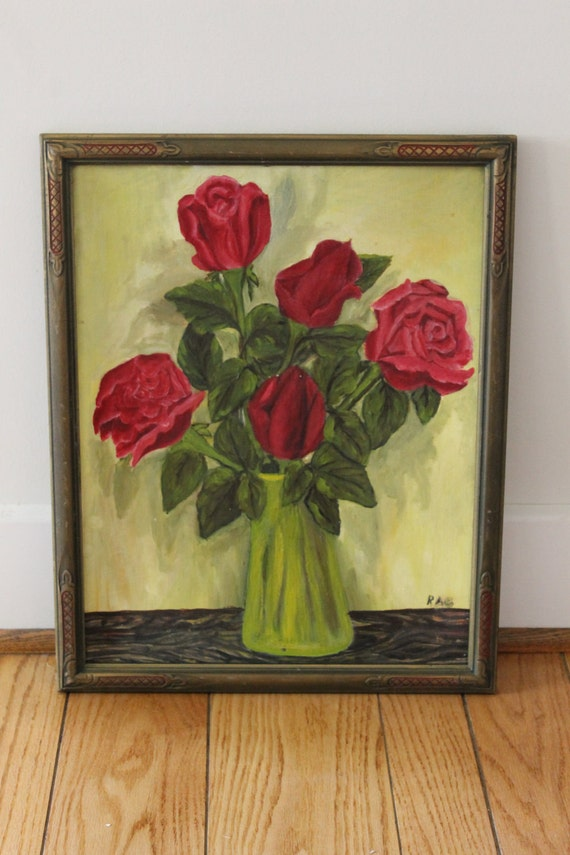 Mid Century Original Oil Painting Red Roses in Old Ornate Frame signed