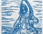 Shark Baby, Original Linocut Print