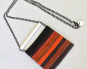 The Leather & Bone Necklace in Terracotta Leather - Ivory Bone - Long Chain - Tonal Stripes