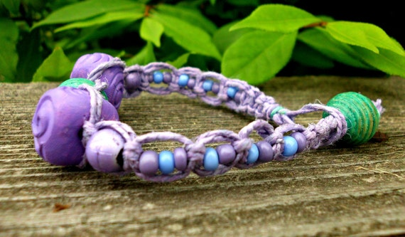 Beaded Lavender Hemp Bracelet With Hand Painted Clay Beads- One of a kind