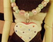 Beaded Cookie Charm / Doll Necklace