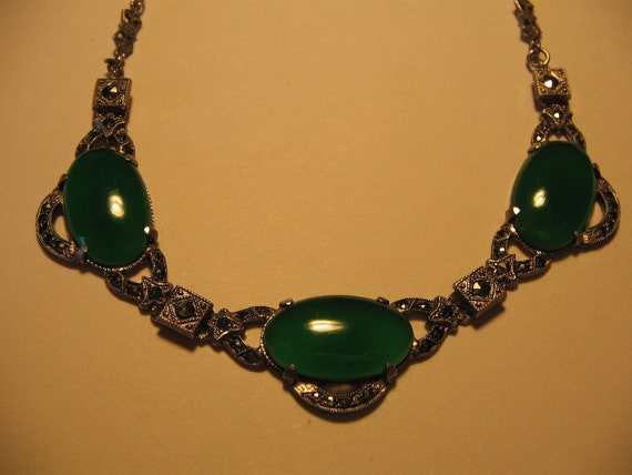 Vintage Sterling Silver Marcasite Green Stone Necklace 15""