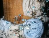 Cream and Blue Rhinestone Garter Set