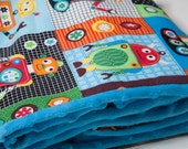 Baby Boy Blanket, Flannel and Minky, Robots