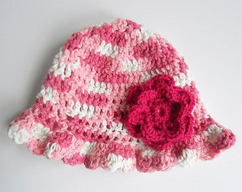 18 Month Baby Girl Pink And White Hat 1 Year Infant Beanie Summer Cotton Cap With Flower Toddler 9 Months To 2 Years Old  Spring Clothing