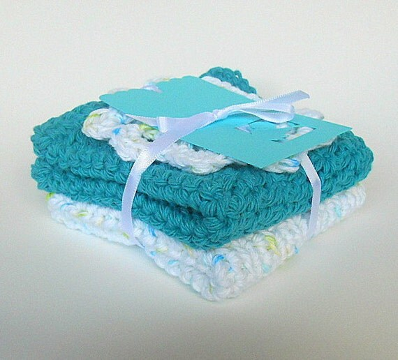 Baby Washcloths Infant Bath Cloths Cotton Face Scrubbies  Boy Teal Aqua Gift Tag Girl White Crochet Flower Dishcloths